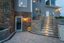 limestone steps-retaining wall