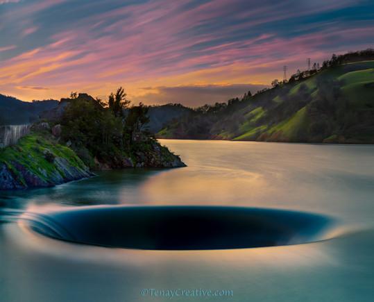 """""""The Amazing Drain;"""" Berryessa's Glory Hole, California."""