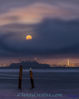 """Karl's Help;""Alcatraz Full Moon, San Francisco, California."