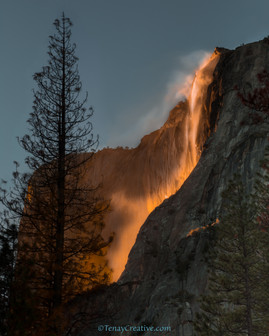 """Chasing Fire in the Snow;"" Horse Tail Falls, Yosemite, California."
