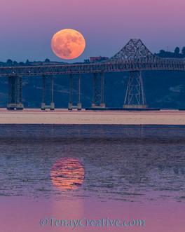 """She Shoots, She Scores!"" Super Moon Rising Over San Rafael Bridge, California."