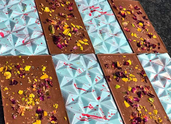 Tommelise  - Rose Petal, Pistachio, Cardamom Coconut Milk Chocolate Bar