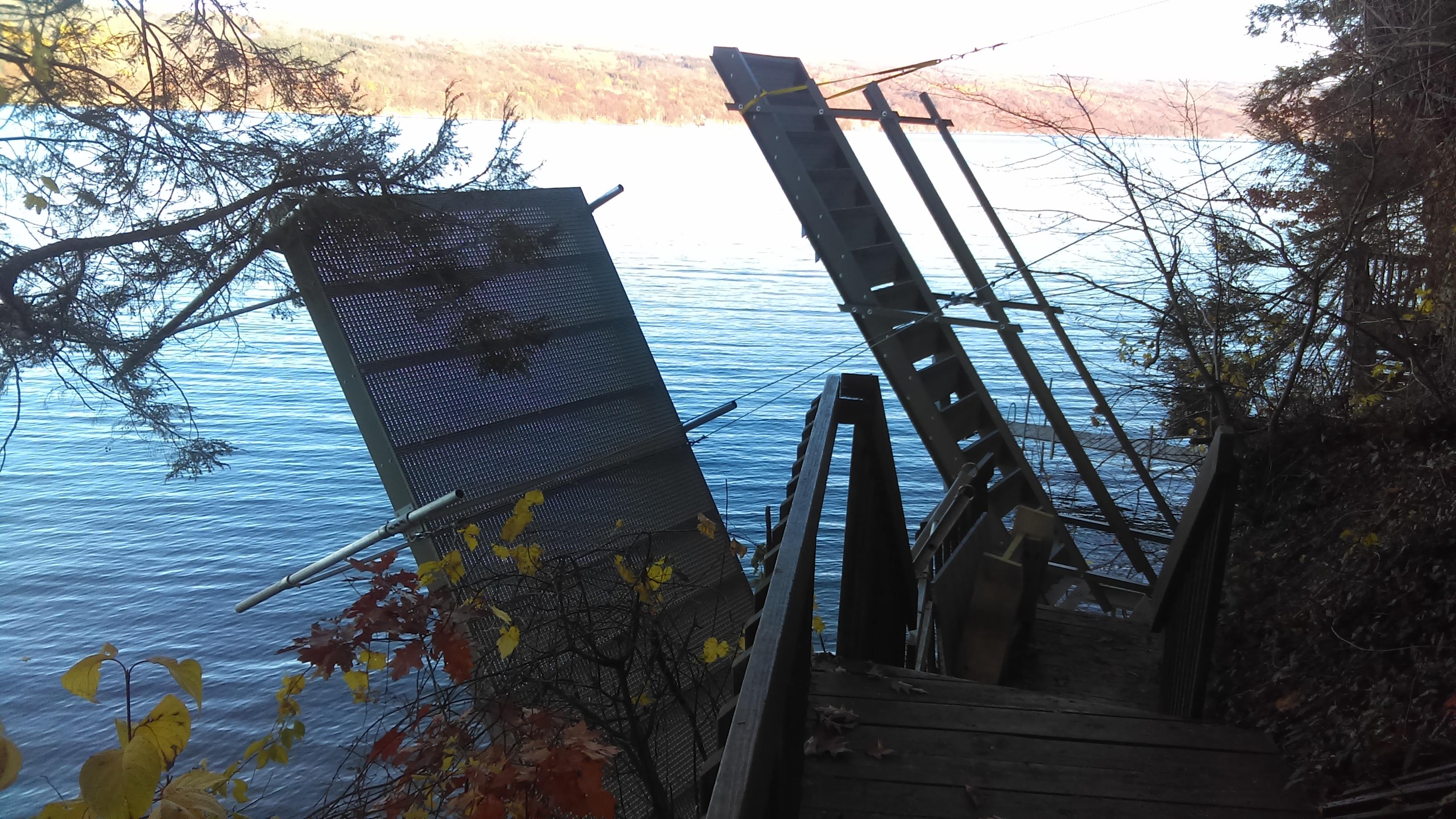 Fully custom cantilever dock.
