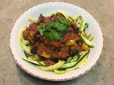 Zoodles with Rainbow Vegetables & Meat Sauce