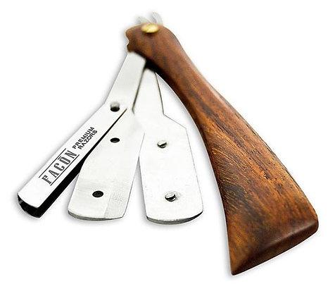 Straight Blade Razor with Wood Handle