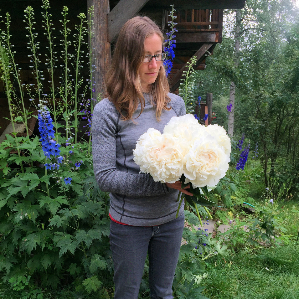Naomi and a Bouquet of Elsa Sass Peonies