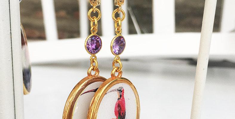 Long Bird and Amethyst Earrings