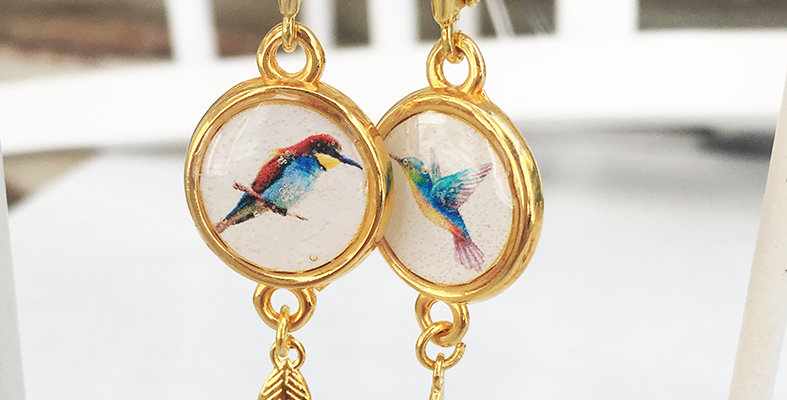 Bird and Feather Earrings