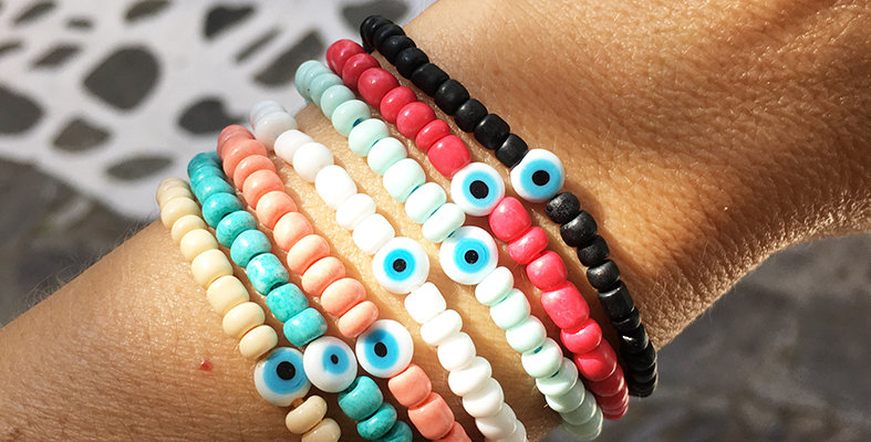 Happy beads and eye Bracelet