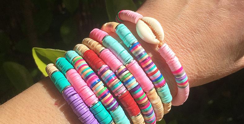 Colorful shell rondelles bracelet