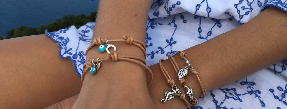 Leather and Silver charm Bracelet