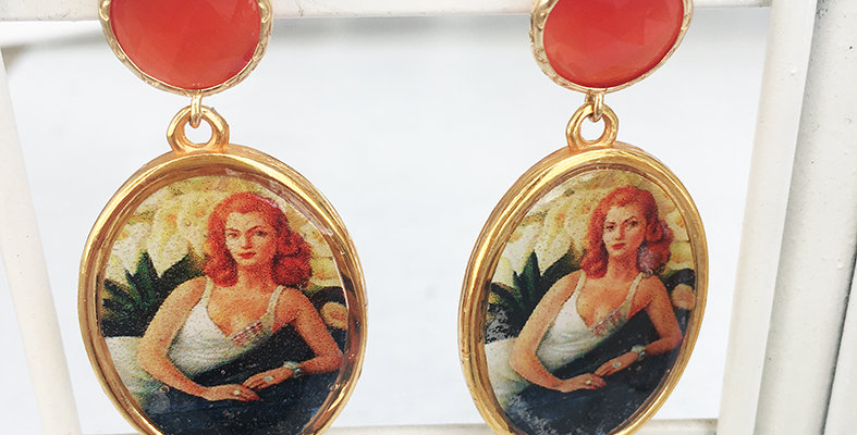 Orange Dame Earrings
