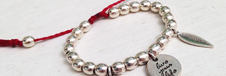 Live your life multi bead bracelet
