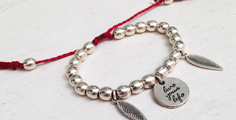 Live your life multi bead bracelet