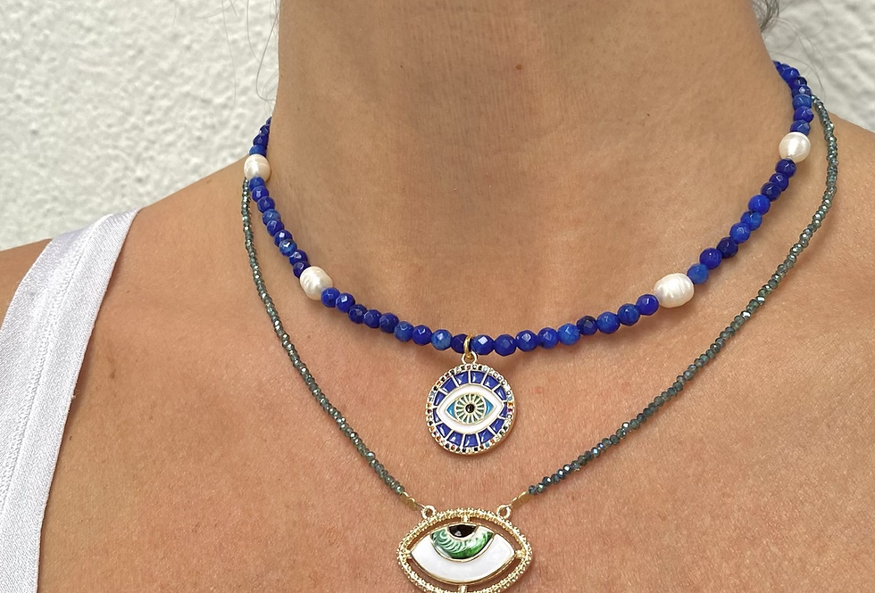 Agate and evil eye necklace