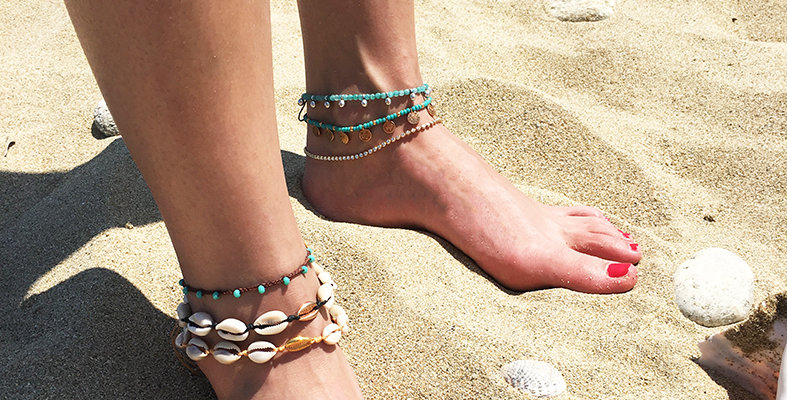 Natural Shell and Metal shell Anklet (1cm shells)