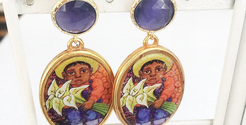 Amethyst little Boy Earrings