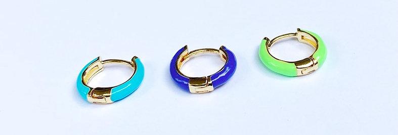 Colorful Enamel Earrings  -Pair