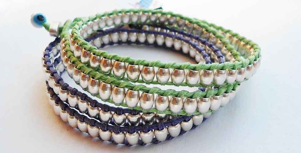 Double wrap cylinder bead bracelet