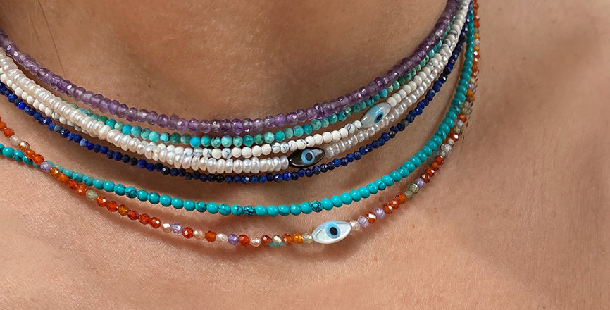 Delicate Necklace with semiprecious beads