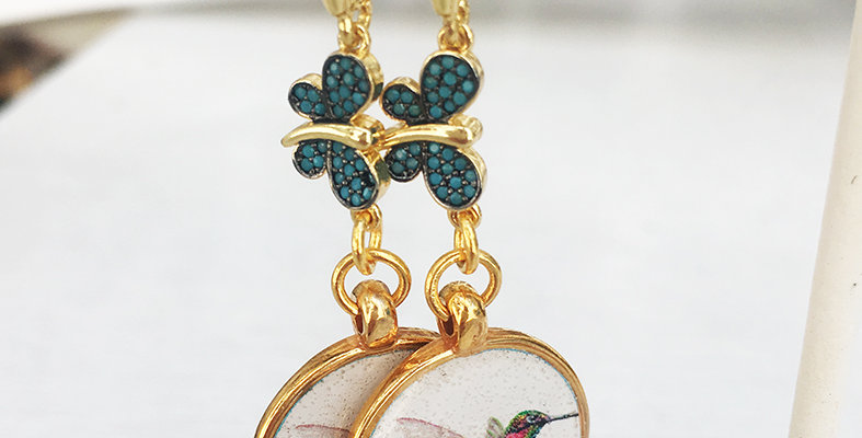 Butterfly and Humming bird Earrings