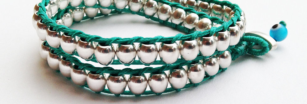 Double wrap round ball bead bracelet