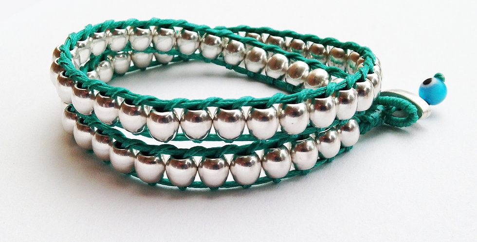 Double wrap round ball bead bracelet