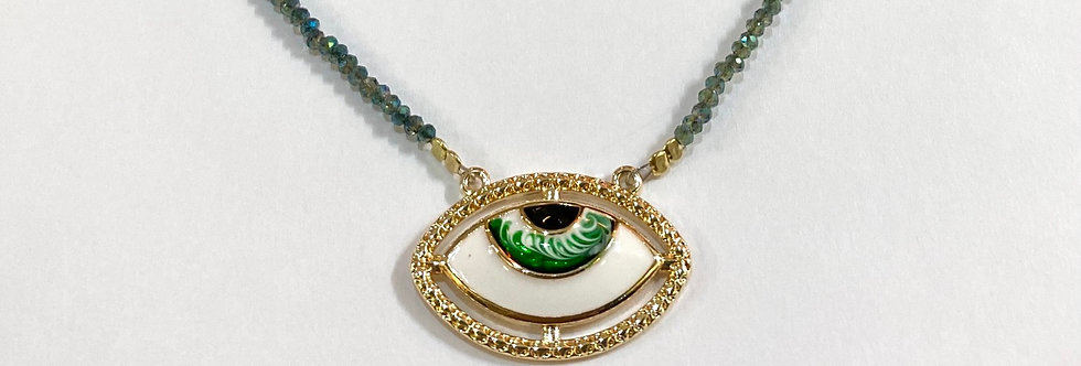 Oval evil eye and Zircon necklace