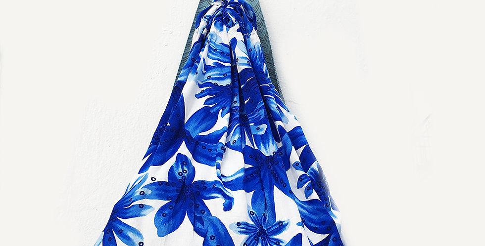Blue flowers sharong backpack-L
