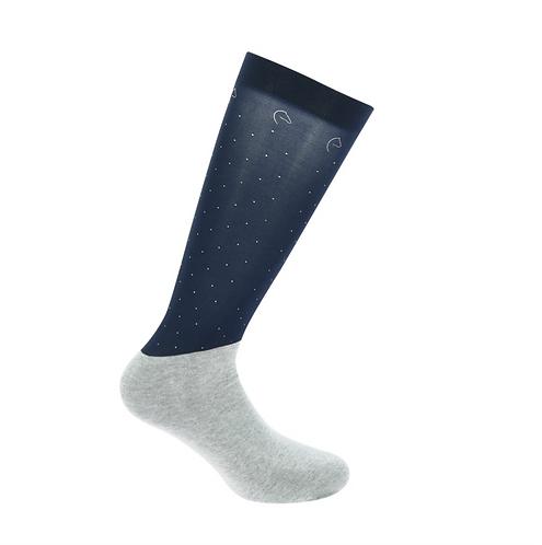 chaussettes d'équitationÉquithème show à pois bleu marine