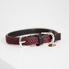 Collier pour Chien en Nylon Tressé Bordeaux - Kentucky Dogwear