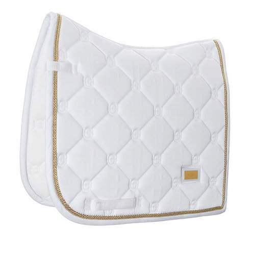 EQUESTRIAN STOCKHOLM - TAPIS DE SELLE DRESSAGE CHEVAL WHITE PERFECTION GOLD