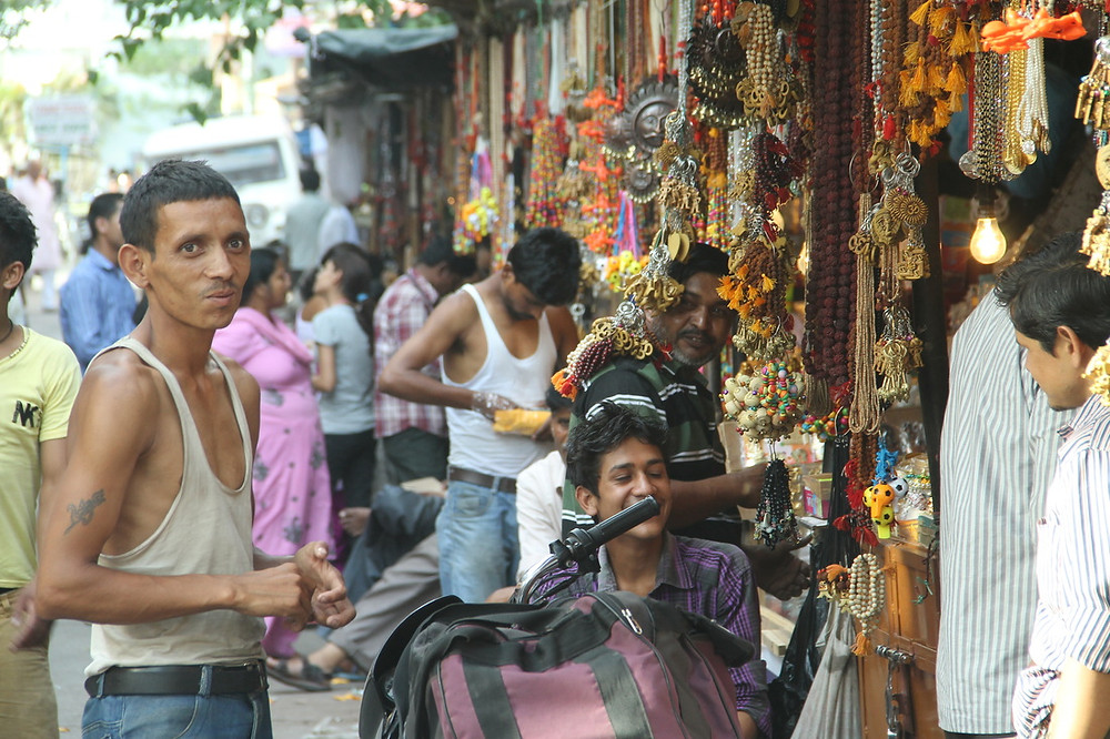 rishikesh, calles, vendedores, india, paseos