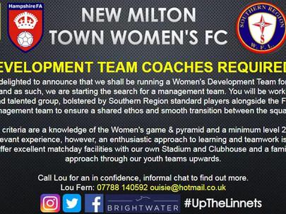New Women's Development Team looking for a Head Coach