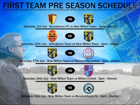 Pre Season Fixtures Confirmed