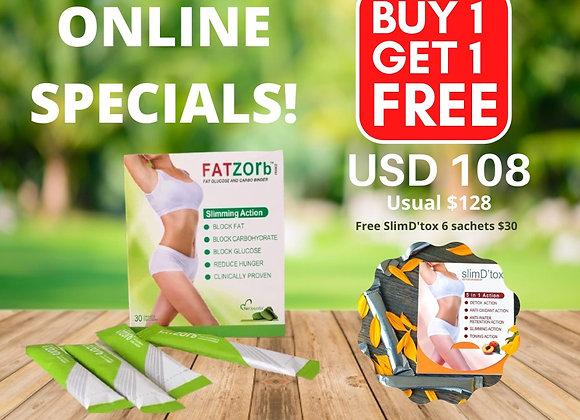 FATZORB 30 sachets (FREE 6 sachets SlimD'tox worth $30)