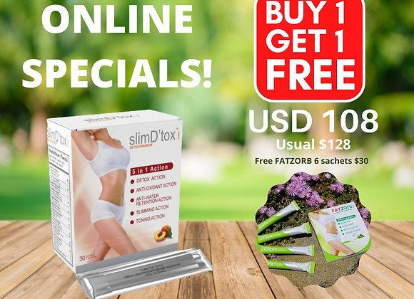 SlimD'tox 30 sachets FREE 6 sachets FatZorb worth $30