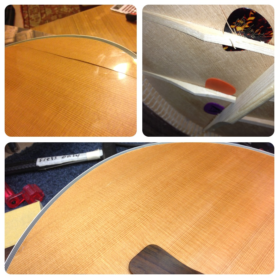 Structural repair to acoustic guitar