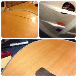 Structural repair to acoustic guitar