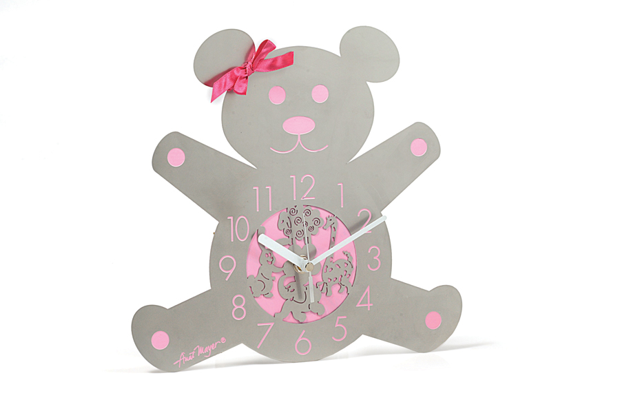 14.TEDDY BEAR BABY GIRL WALL CLOCK
