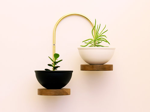 Brass and walnut decorative shelves