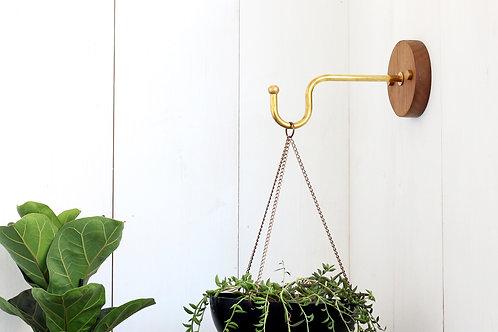 Brass and walnut plant hanger