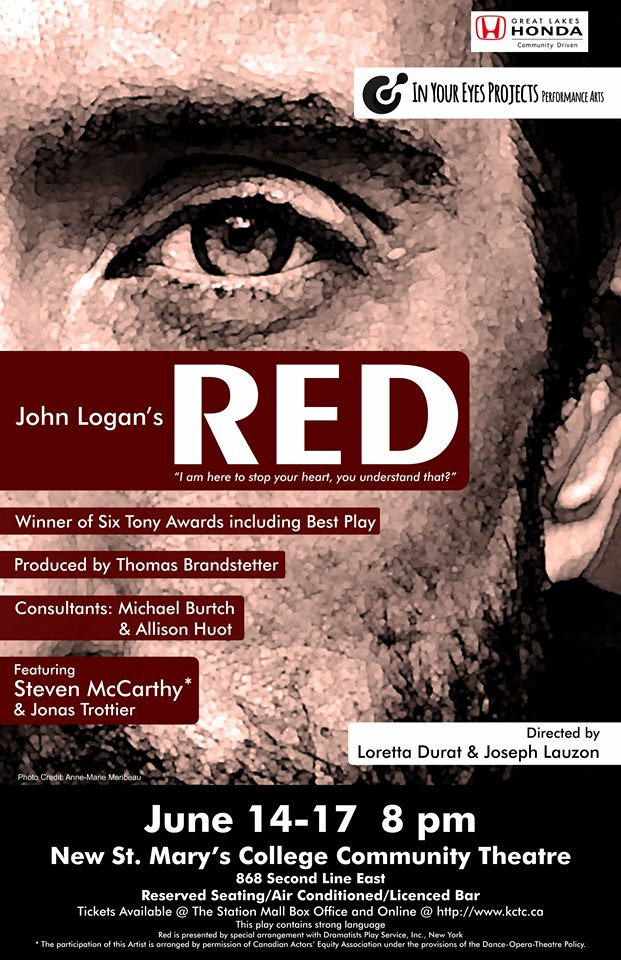 In Your Eyes Projects presentation of RED by John Logan, theatre in Sault Ste. Marie