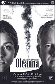 In Your Eyes Projects presents David Mamet's Oleanna.  Theatre in Sault Ste. Marie, Ontario, Canada.