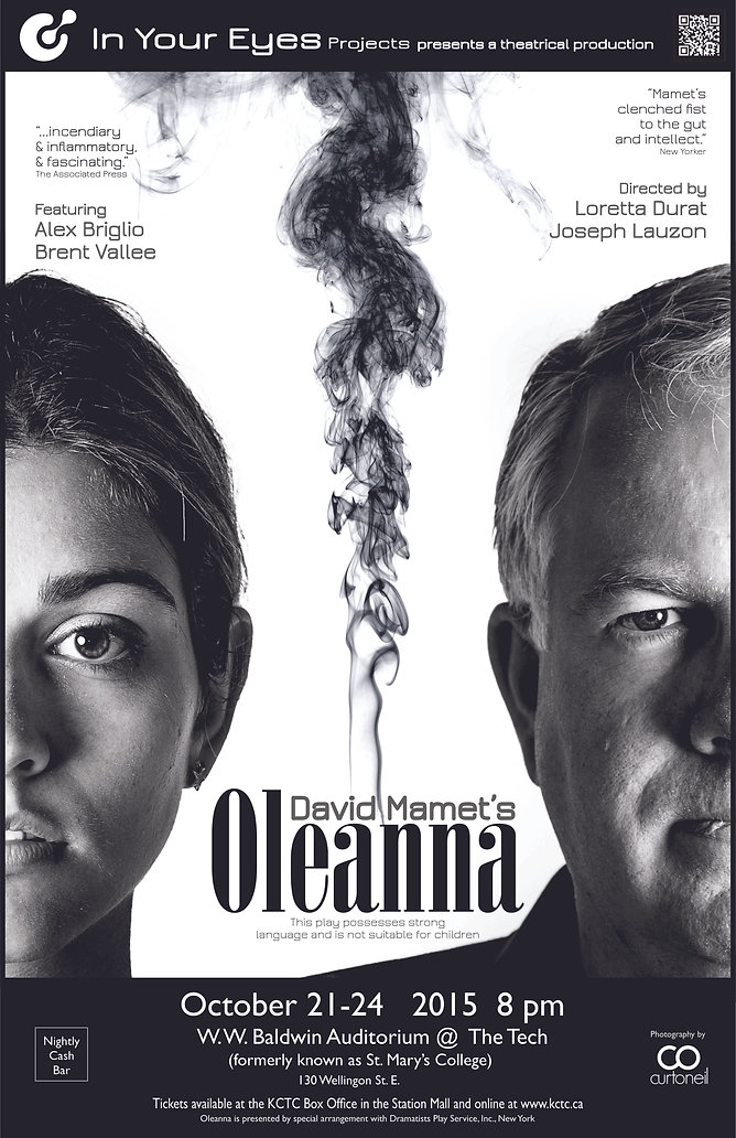 Theatre in Sault Ste. Marie, In Your Eyes Projects poster for their production of David Mamet's Oleanna, theatre in Northern Ontario,