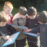 Group of kids orienteering