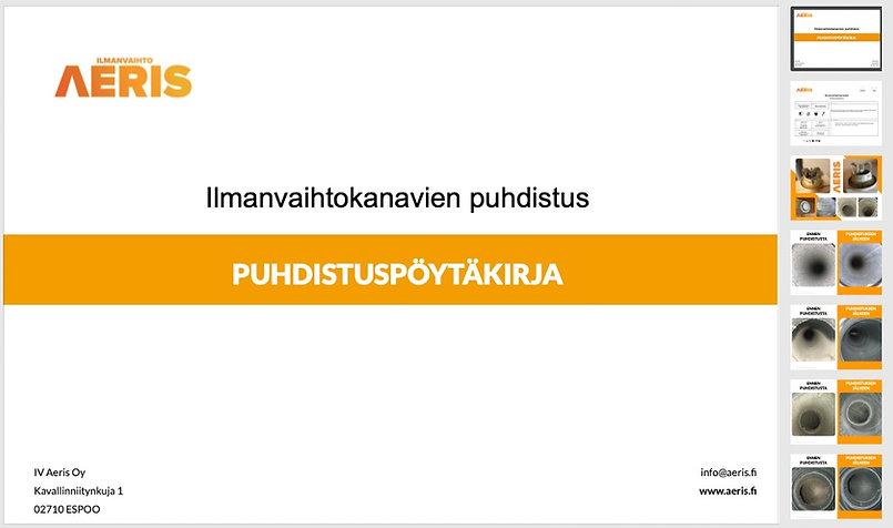 IVAeris Oy:n puhdistuspöytäkirja