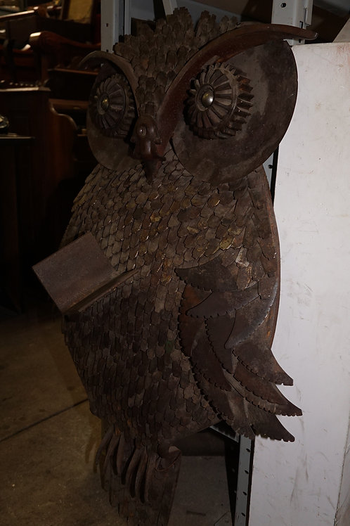 Vintage Recycled Metal Owl Sculpture