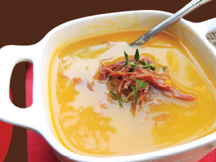 Sopa Creme de Mandioquinha com Carne Seca