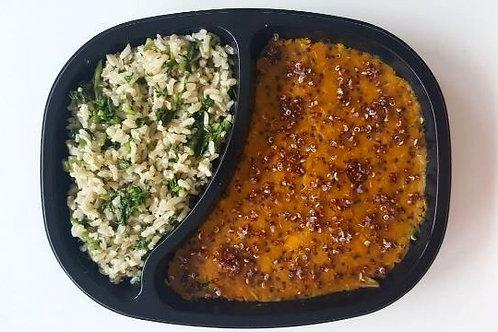 Kibe de Abóbora e Quinua com Legumes ao Curry e Arroz Integral c/ Agrião
